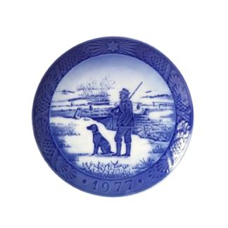 Kolekcjonerski talerz kobaltowy polowanie Kopenhaga